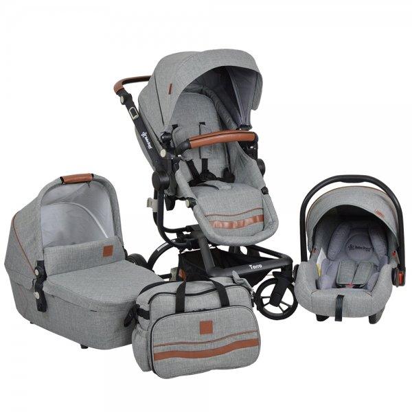 Bebe Stars Бебешка комбинирана количка Torro BABY 3in1 Grey 360Т-188
